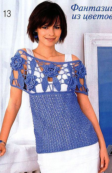 Crafts for summer: lace t-shirt, free crochet patterns  beautifulknit.blogspot.com