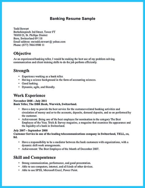 nice Learning to Write from a Concise Bank Teller Resume Sample - bank resume