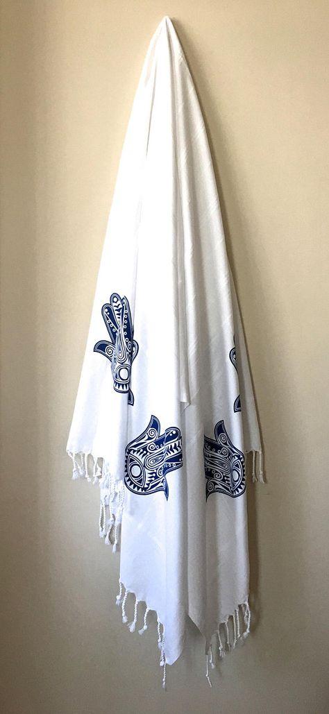 100 Cotton Turkish Peshtemal White Handwowen Towel Navy Hamsa