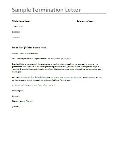 Termination Letter Sample  Printable Template