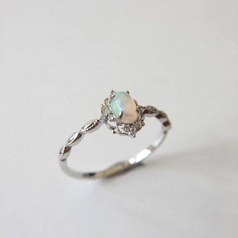 0.3 Carat Opal Engagement Ring | Etsy