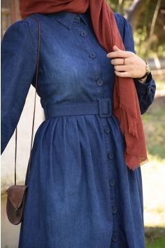 Kalin Kemer Detayli Dugmeli Koyu Kot Elbise Kot Elbiseler Basortusu Modasi Musluman Modasi