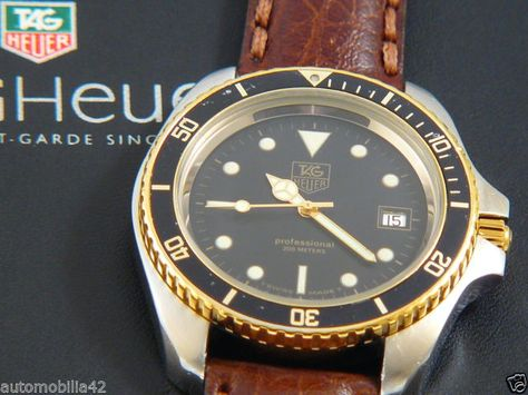 TAG Heuer 1000 Big 45mm Submariner Man Twotone on a brown leather band 980.021N