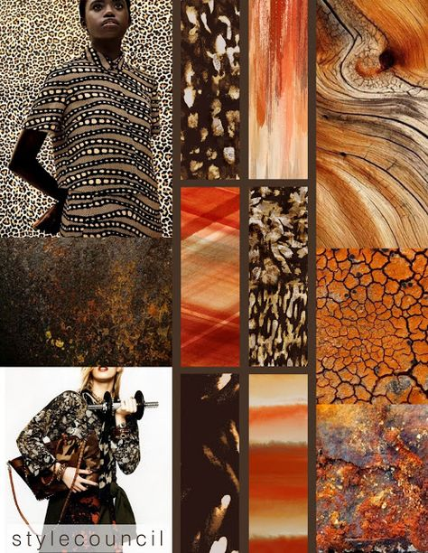 Style Council : Textural Textiles :  Brown, beige, rust, orange and reds are creating an interesting palette for our abstract camouflage and earthy mineral prints. Theses textures have layers of color, line work, and natural grain adding intricate surface detail to your look.