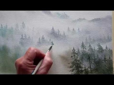 Painting Foggy Misty Mountains In Watercolor Youtube Painting Tutorial Painting Drawings