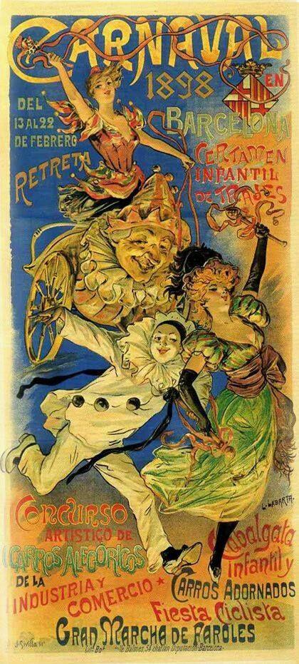 Barcelona Carnaval De 1898 Carnaval Antigo Carnaval Ilustração