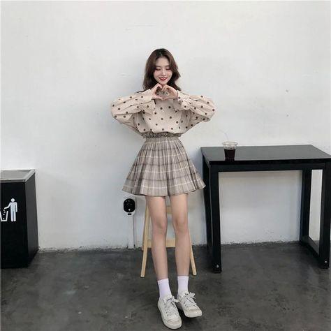 Korean style polka dot shirt