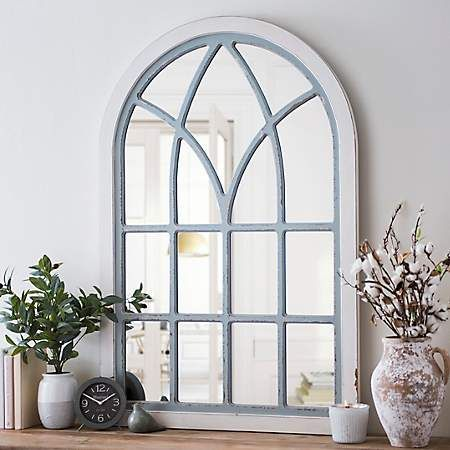 Distressed Cream And Gray Vail Arch Mirror Mirror Decor Living