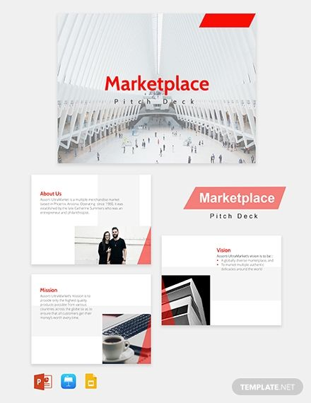 Marketplace Pitch Deck Template In 2020 Templates Creative Powerpoint Templates Presentation Templates