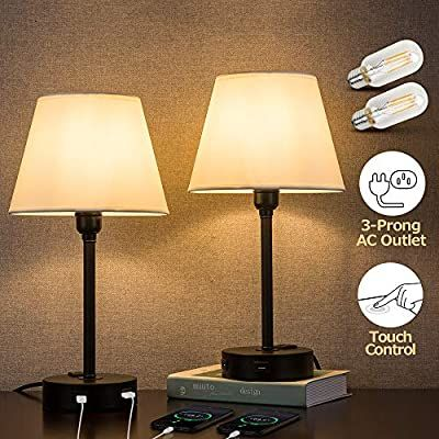 Amazon Com Zeefo Touch Control Table Lamp Built In Dual Usb Ports Ac Outlet White Fabric Shade 3 Way Dimmable Usb Nightstan In 2020 Lamp Nightstand Lamp Table Lamp