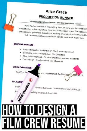 How To Design A Film Crew Resume With No Experience Amy Clarke Films In 2020 Filmmaking Film Jobs Screenwriting