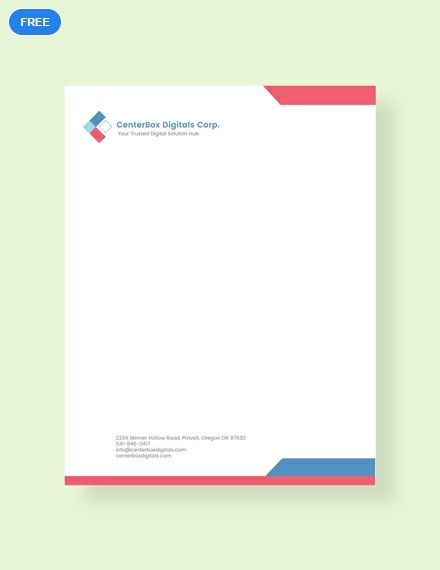 Company Letterhead Template Free Pdf Word Doc Psd Apple Mac Pages Illustrator Publisher Letterhead Template Word Word Template Design Company Letterhead Template