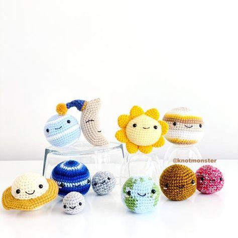 Solar System Planets Crochet bundle PATTERN ONLY pdf DOWNLOAD! Amigurumi Crochet Patterns Beginner Easy Simple Basic Tutorial Doll Space