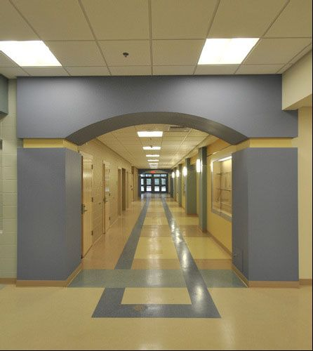 Main Entrance Interior Of Crawford Bay Elementary School In BC Canada