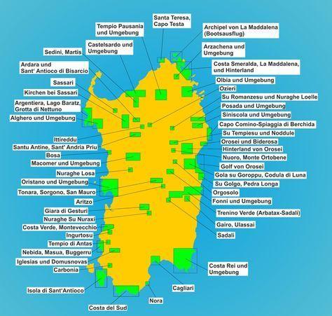 Karte Sehenswurdigkeiten Sardinien Sardinien Italien Sardinien