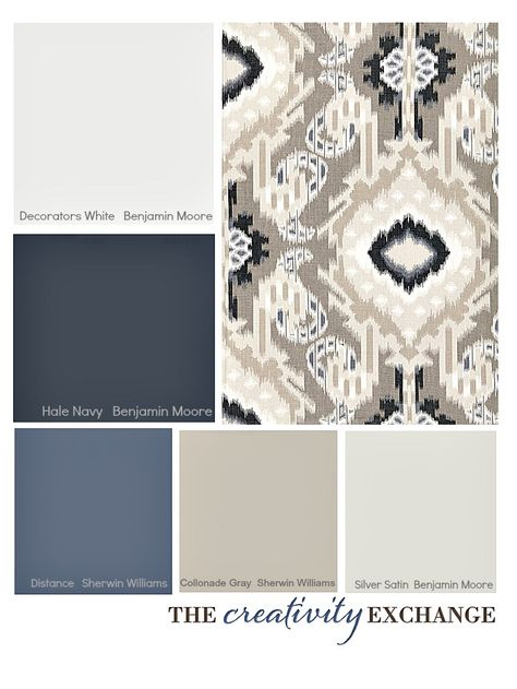 Tips for picking a paint color palette {Color Palette Monday} The Creativity Exchange-- Hale Navy for DR, Distance for the arched wall in the LR, Collonade for the other 3 LR walls and Silver Satin for the entry way and hallways.