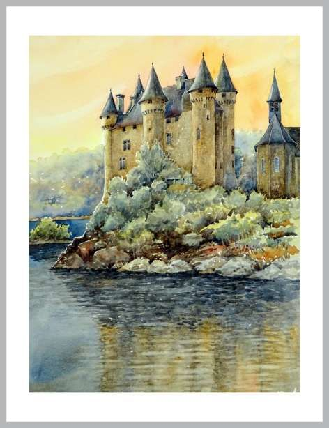 Aquarelles Aquarelle Dessin Chateau Culture Art