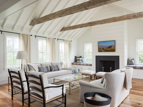 Fireplace Between Window Seats, Transitional, Living Room, Benjamin Moore White Dove, Sophie Metz Design