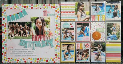 Gorgeous Happy Birthday Layout by Laura Vegas for Pebbles Inc.