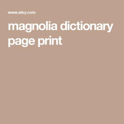 magnolia dictionary page print