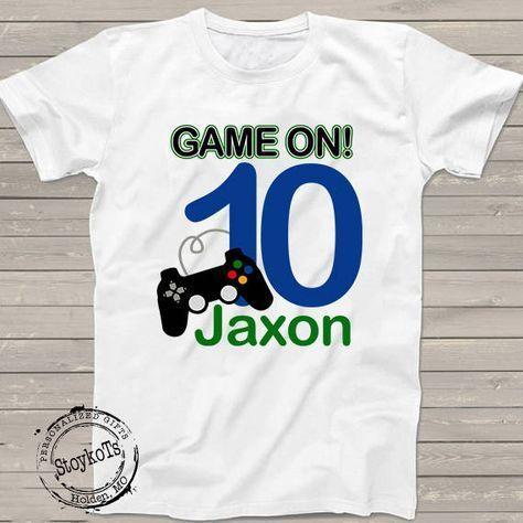 a6871e4444b79 Gamer Birthday party shirt Game on 10th birthday shirt Video Gamer ...