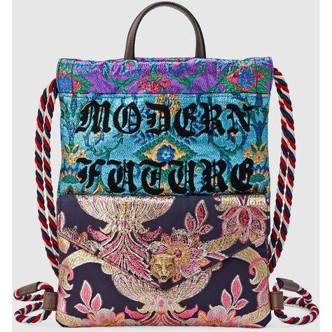 da09e2a47354 Gucci Brocade Drawstring Backpack (74.275 RUB) found on Polyvore featuring  women s fashion