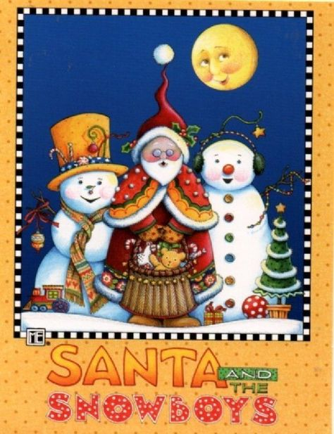 Mary Engelbreit Santa & 2 Snowmen Christmas Note Cards Set 6 & Envelopes NEW   eBay