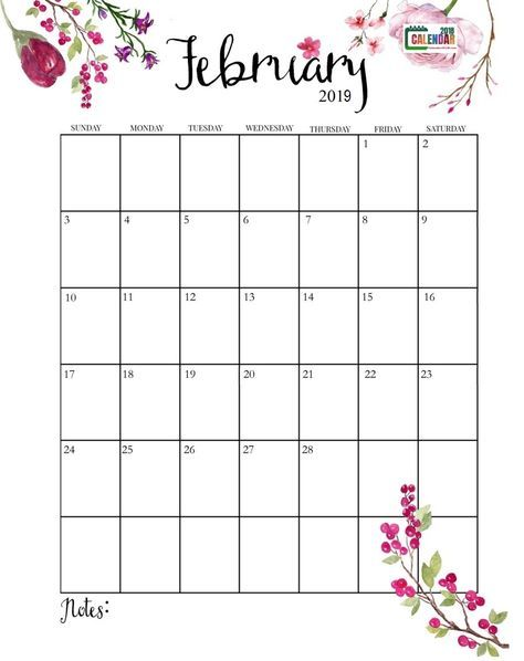 Monthly Calendar Grid February 2019 Cute February 2019 Calendar | Calendars | Printable calendar