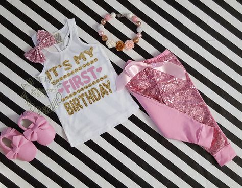 Pink And Gold It S My First Birthday Sequin Pants Outfitnow Our Popular Birthday Shorts Outfit Is Avai Cute Birthday Outfits Sequins Pants Outfit Short Outfits