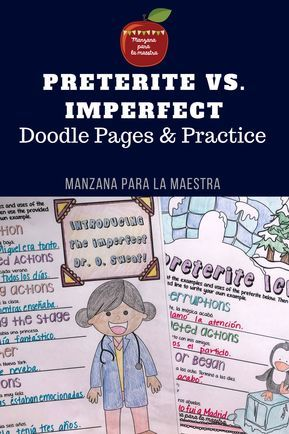 Preterite Vs Imperfect Notes And Worksheet Activities Preterite Doodle Pages Doodle Notes