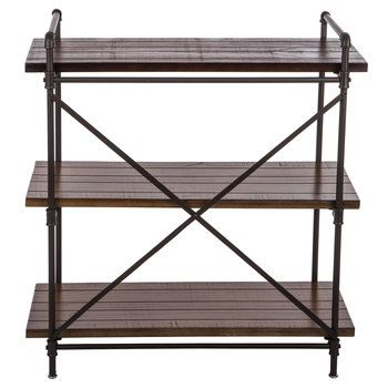Rust Brown Three Tiered Baker S Rack With Images Bakers Rack Brown Wood Wood Shelves