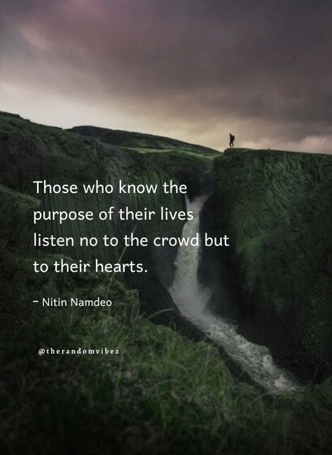 Those who know the purpose of their lives listen no to the crowd but to their hearts. - Nitin Namdeo #Listentoyourheartquotes #Followyourheartquotes #Followyourbrainquotes #Dontfollowcrowdquotes #Trendingquotes #Dreamquotes #Goalquotes #Hearttouchingquotes #Motivationalquotes #Inspirationalquotes #Achievementquotes #Positivequotes #Meaningfulquotes #Relatablequotes #Jayshettyquotes #Deepquotes #Emotionalquotes #Goodquotes #Inspiringquote #Inspirationalquotes #Quotesandsayings #therandomvibez