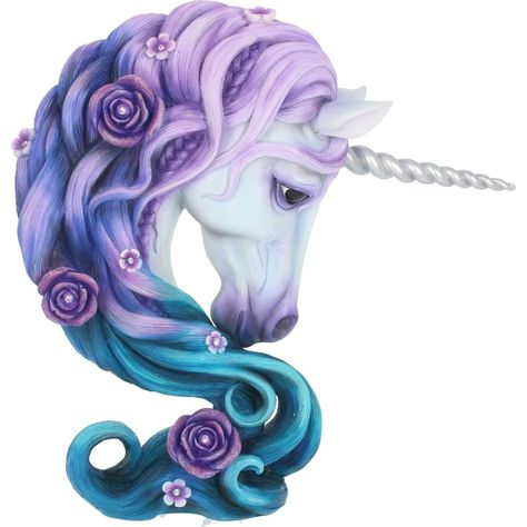 This enchanting unicorn bust is filled with magic. Looking ahead, this purple, white and blue unicorn stares with deep, black, soulful eyes. Their pearly unicorn horn spirals forward from their head, and their flower covered mane is tinged with vibrant colour.