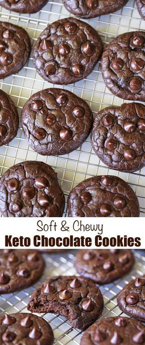 These soft thick and chewy keto chocolate cookies are made with nut butter and cocoa powder. Only net carbs per cookie! These soft thick and chewy keto chocolate cookies are made with nut butter and cocoa powder. Only net carbs per cookie! Desserts Nutella, Desserts Keto, Keto Snacks, Dessert Recipes, Dinner Recipes, Stevia Desserts, Cookie Recipes, Lunch Recipes, Dessert Mousse