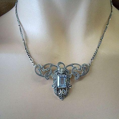 925 Silber ART DECO Collier mit Aquamarin