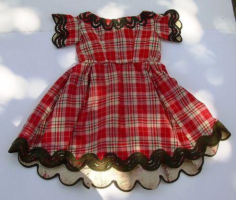 Civil War Era 1860's Period Child's Red Black Plaid Wool Dress | eBay