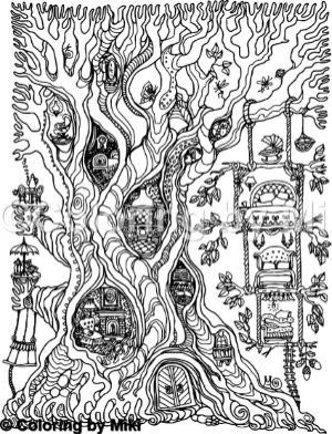 Tree House Coloring Page #148 | Coloring | House colouring ...