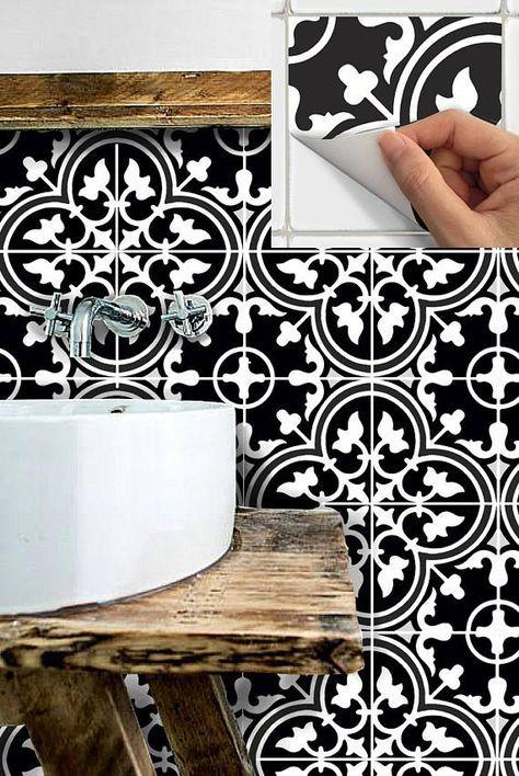 Floor Tile Stickers Vinyl Decal Waterproof Removable For Kitchen Bath M027black Shabby Home Diy Bathroom Remodel Rubber Flooring Bathroom