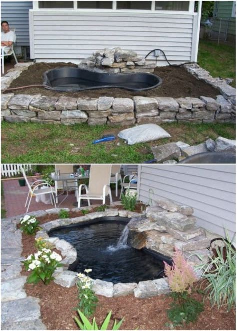 15 budget-friendly DIY garden ponds you can make this weekend . - 15 budget-friendly DIY garden ponds you can make this weekend # budget friendly - Outdoor Ponds, Outdoor Gardens, Outdoor Fountains, Diy Garden Fountains, Outdoor Projects, Garden Projects, Garden Ideas, Diy Projects, Backyard Projects
