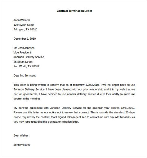 termination services letter templates free sample example template - termination of contract letter