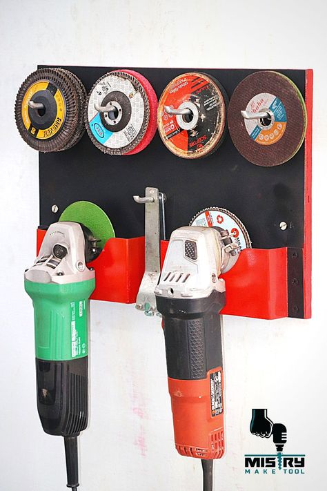 Hello Friends, Today I Make A Angle Grinder and blade holder. This Is A Easy And Best Storage For My Angle Grinders And Blades. Power Tool Storage, Garage Tool Storage, Garage Tools, Shed Storage, Storage Rack, Diy Storage, Garage Shop, Garage Workshop Organization, Workshop Storage