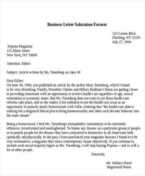 Sample Business Letter Salutation Examples Word Pdf Closing Lines