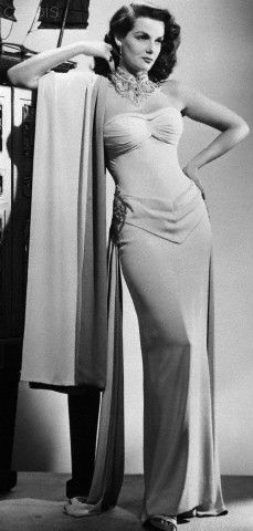 Jane Russell Posing in White Evening Gown