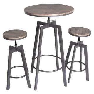 Zenvida 3 Piece Round Pub Table And Stool Set Wood Top Metal Bar Bistro Round Pub Table Pub Table And Stools Pub Table Sets