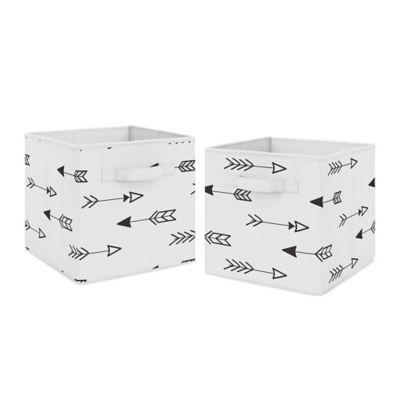Sweet Jojo Designs Arrow Fabric Storage Bins In Black White Set
