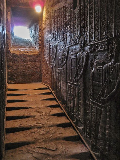 "museum-of-artifacts: "" The western staircase leading to the roof of the Temple of the Goddess Hathor, Egypt. 2300 years old "" Ancient Aliens, Ancient Egypt History, Ancient Egyptian Art, Egyptian Goddess, Egyptian Mythology, Egyptian Symbols, Ancient Greece, Ancient Mysteries, Ancient Artifacts"