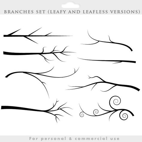 Branch silhouette clipart - tree clip art silouette whimsical, cute, branches, birds, bird, leaves,