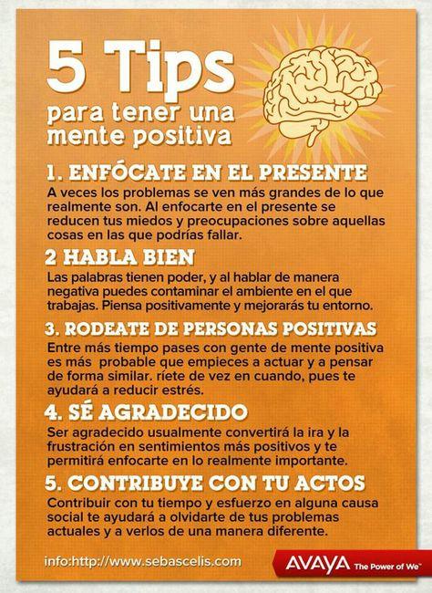 #Infografia: 5 Tips para mantener la #mentepositiva via @alimenbienestar