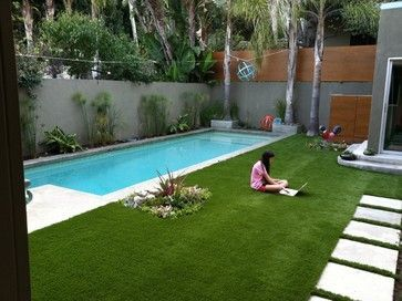 Silver Lake Backyard Design Contemporary Pool Los Angeles Design Vidal Grass Is Artificial Turf Small Backyard Pools Small Pool Design Rectangle Pool