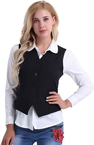 Freebily Office Lady Vest Women Short Waistcoat Business Dress V Neck Uniform Formal